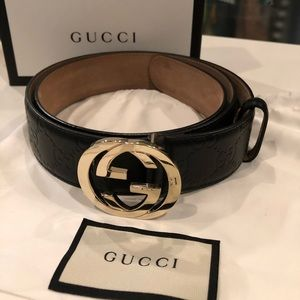 d4999905623e Gucci Signature Leather Belt Men's Black/Gold 100